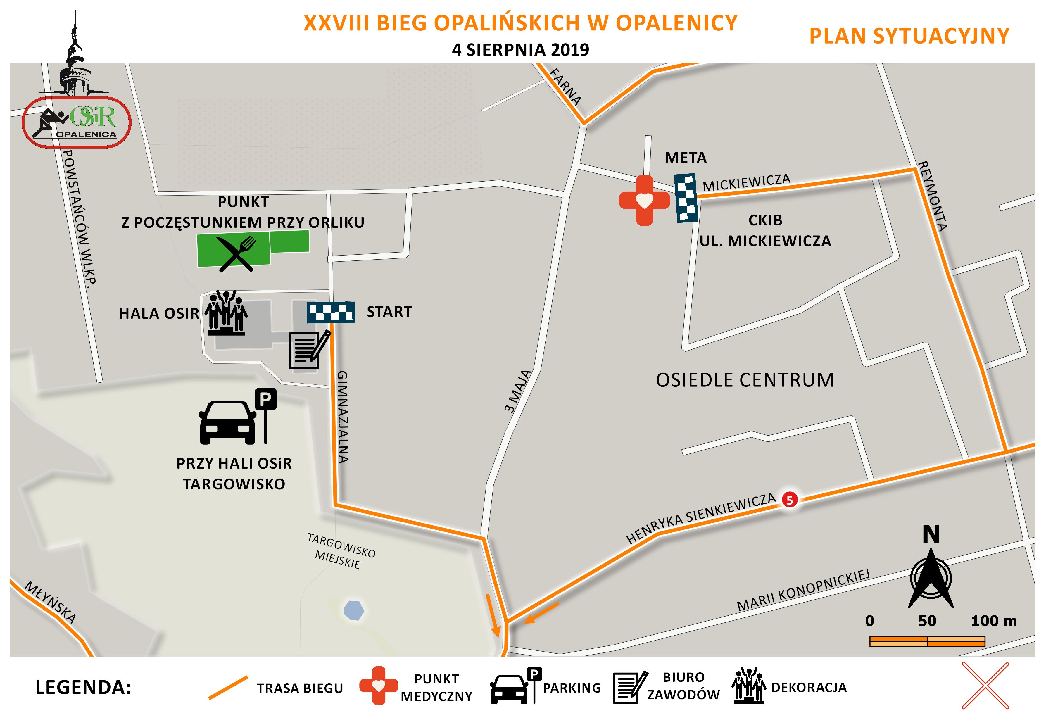 Plan sytuacyjny Bieg Opalińskich 2019