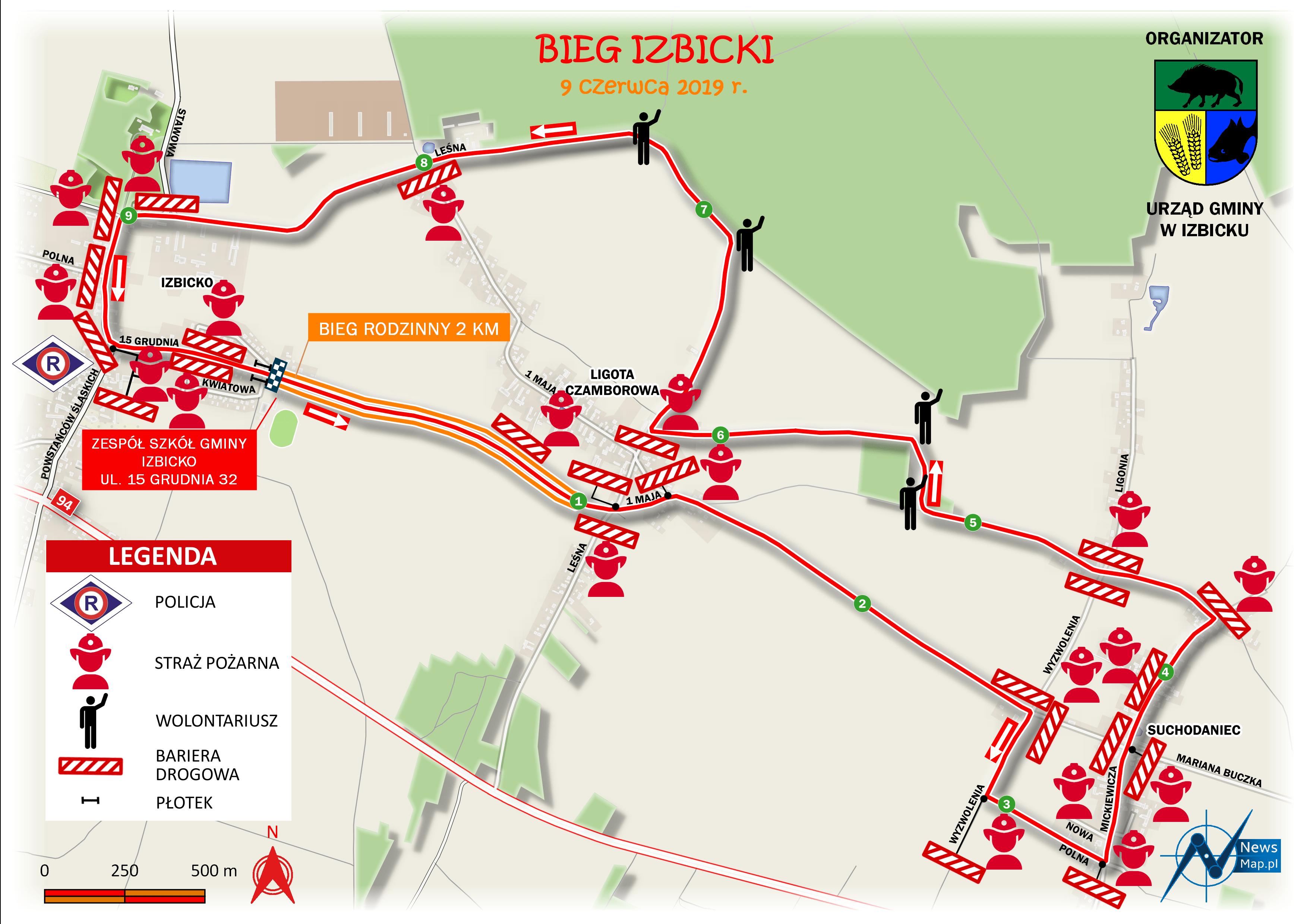 Bieg Izbicki - mapa statyczna z oznaczeniem punktów