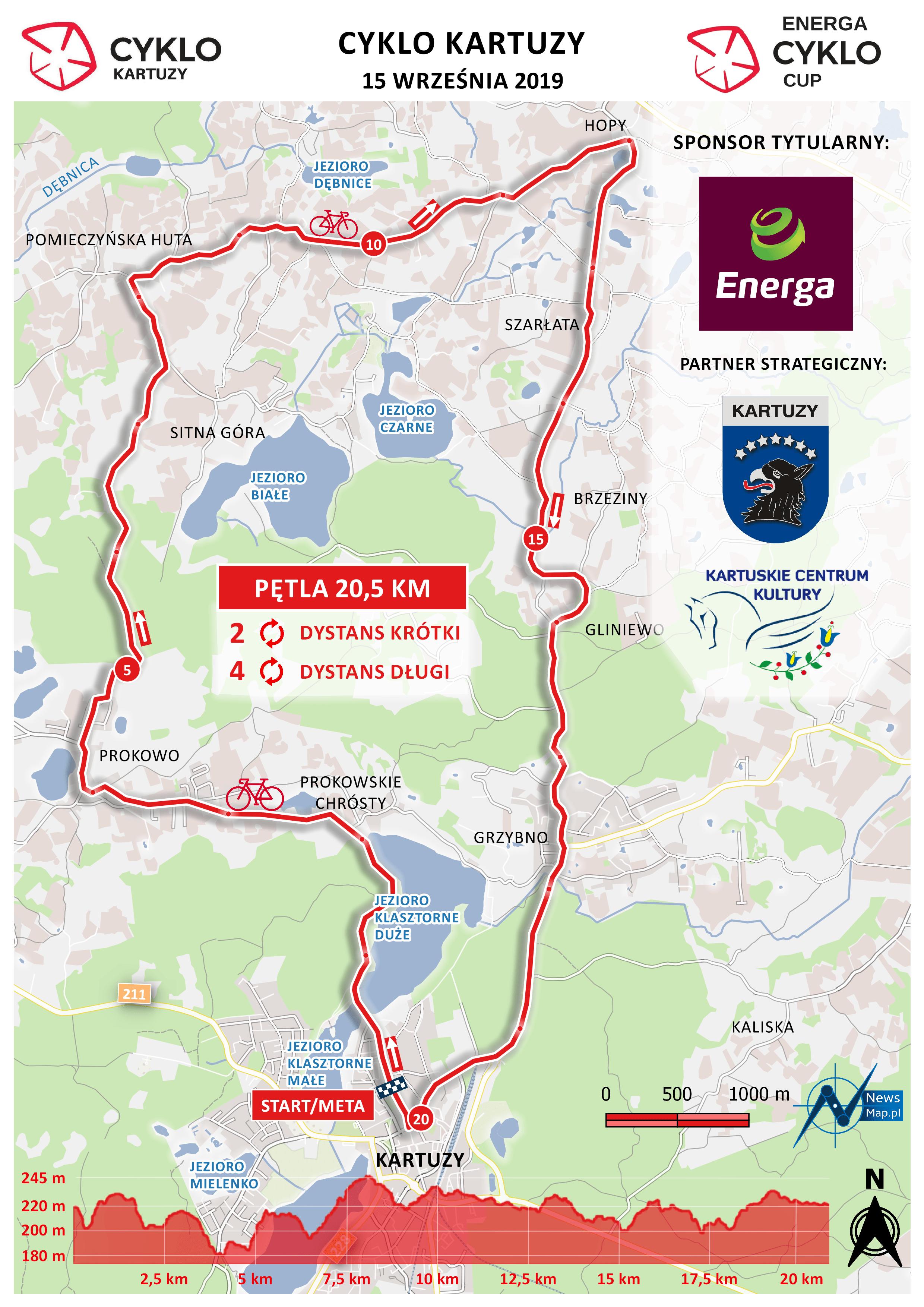 Cyklo Kartuzy 2019 - mapa trasy (on-line)