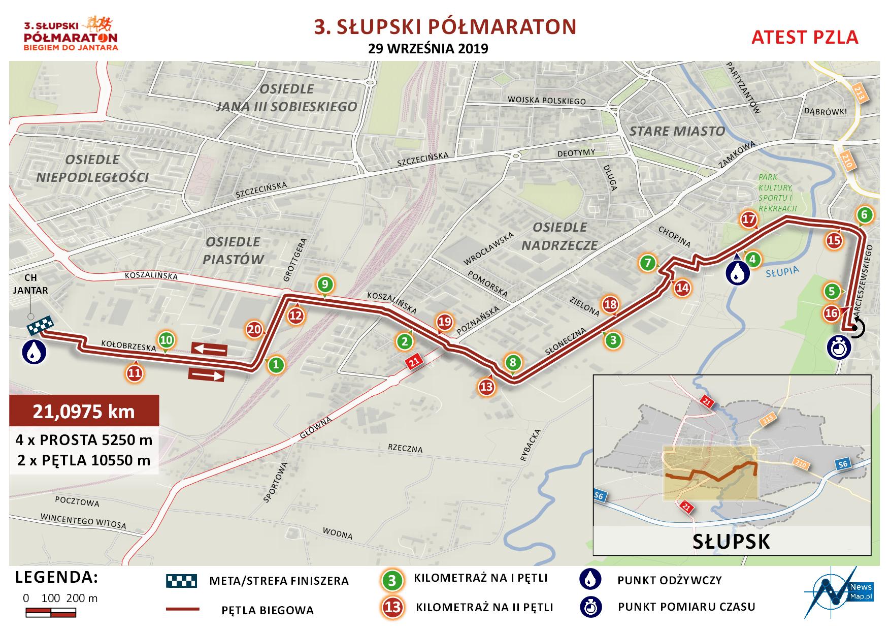 Mapa statyczna 3. Słupski Półmaraton (on-line)