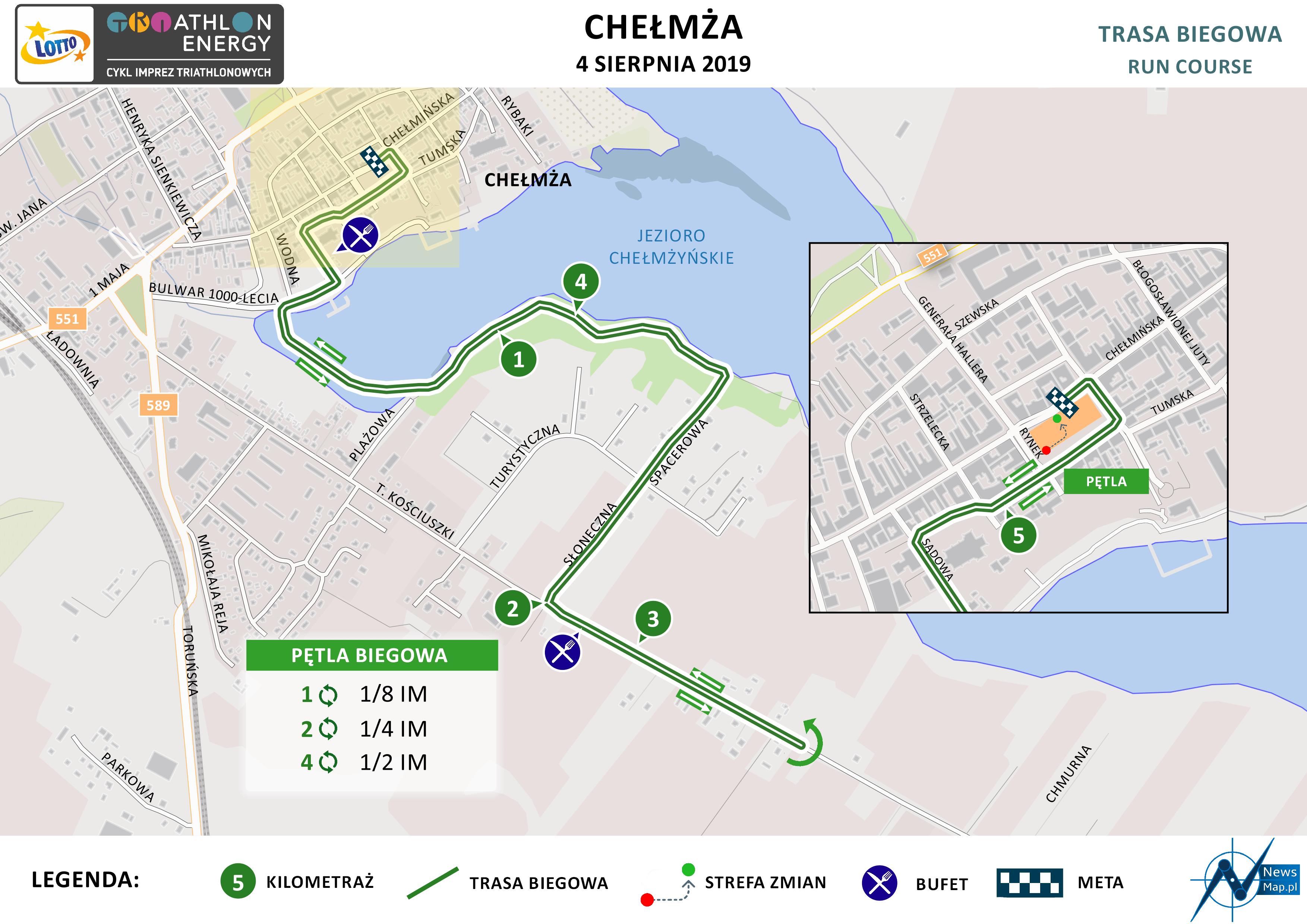 Mapa statyczna Chełmża Energy Triathlon 2019 - bieg