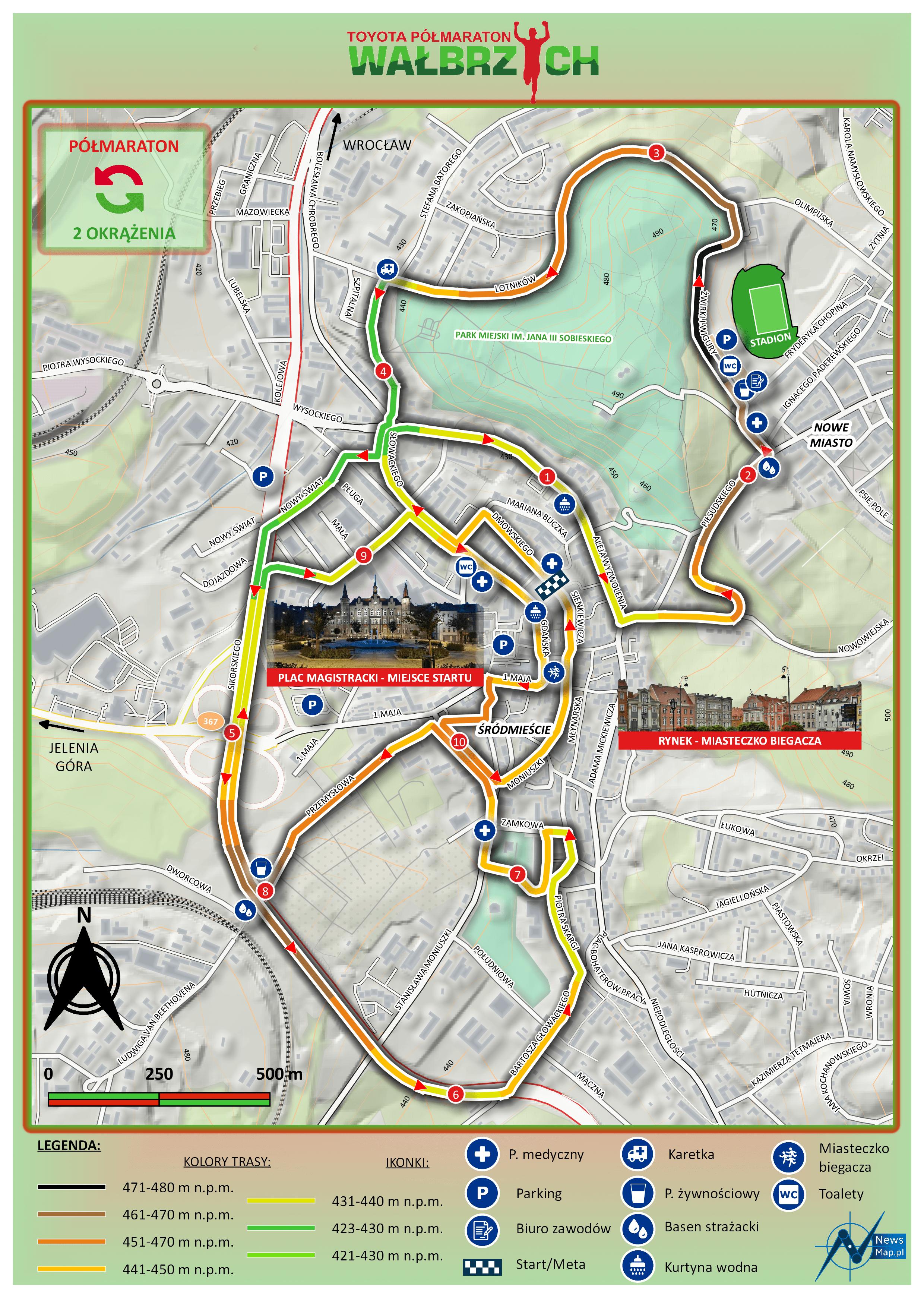 Półmaraton Wałbrzych 2019 - mapa statyczna v2