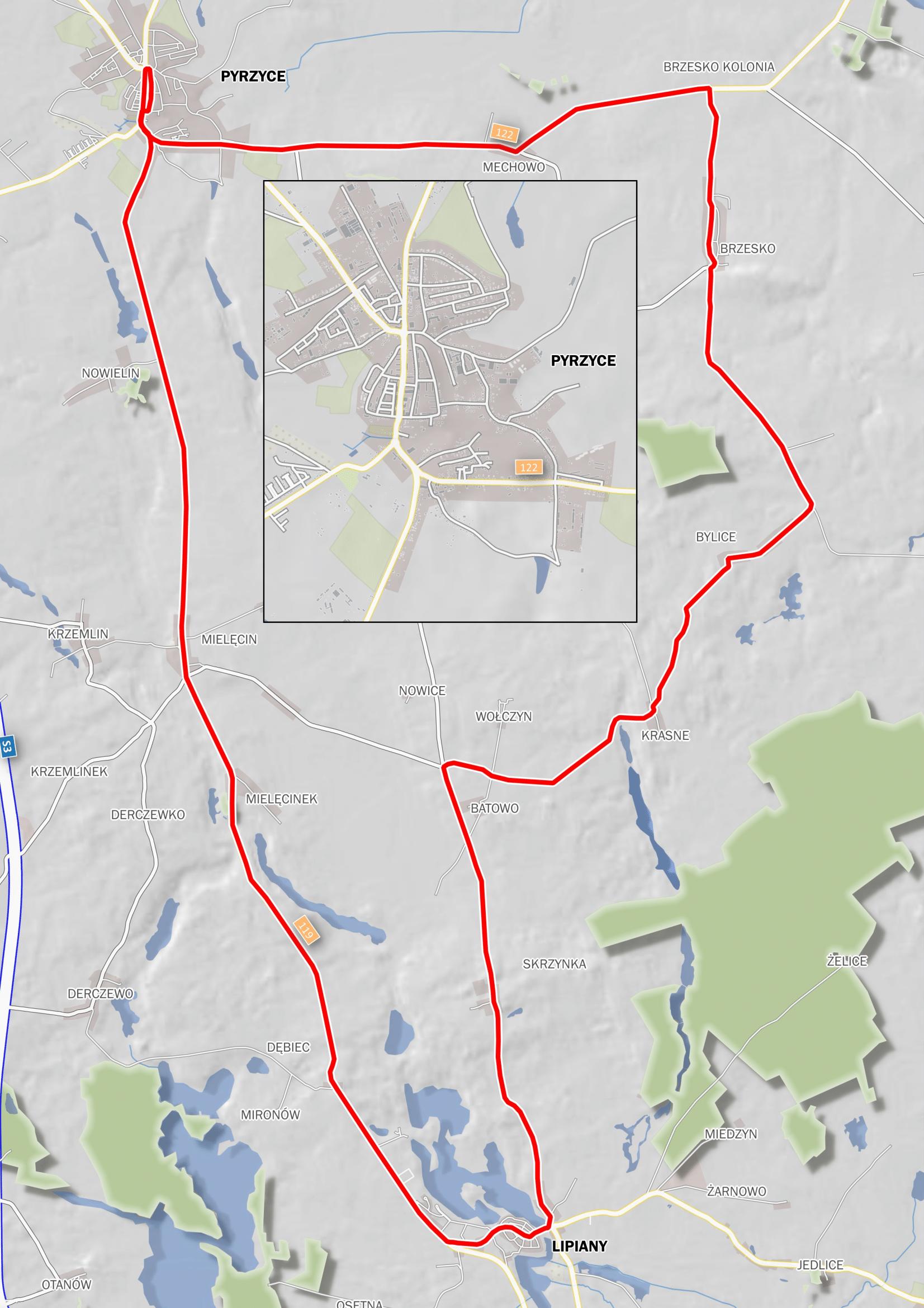 Pyrzyckie Kolarskie Grand Prix - mapa - trasa-1